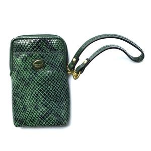 Coach wallet/phone case Green Snakeskin design